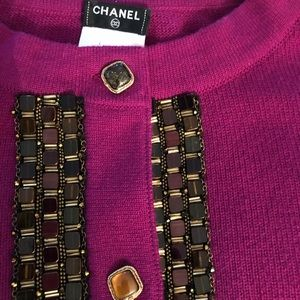 Chanel berry color cardigan with crystal details